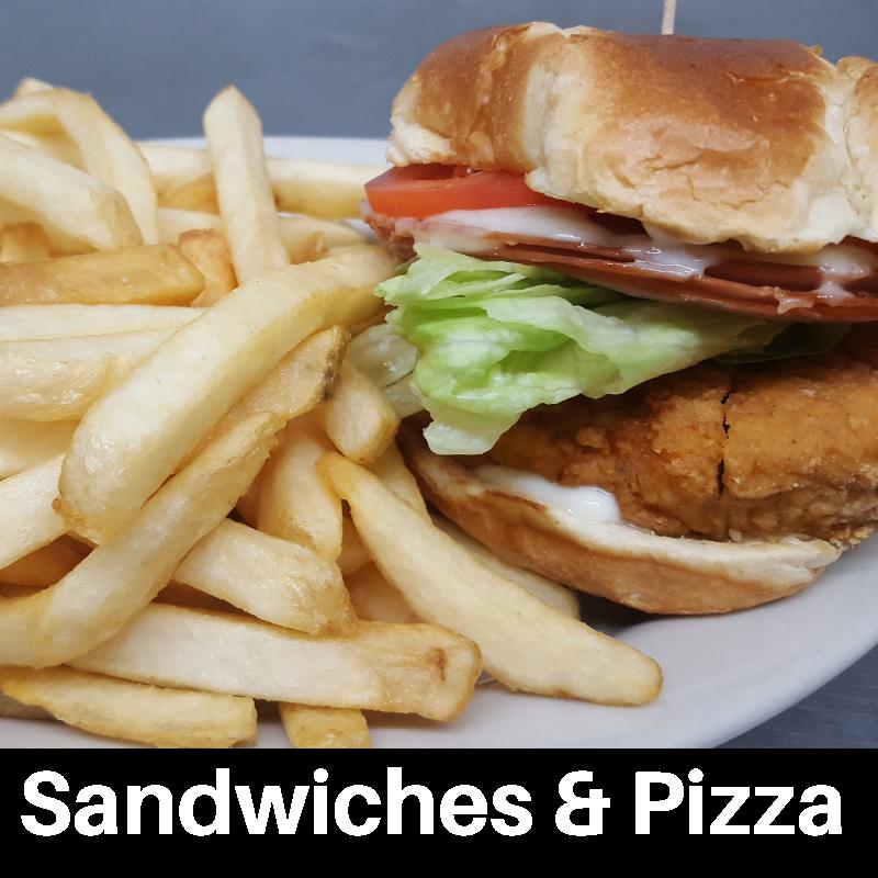 Burgers, Sandwiches & Pizza