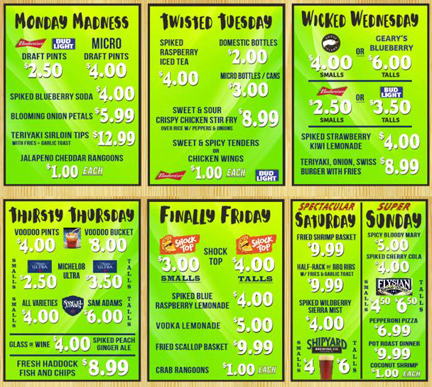 Gridiron's Happy Hour features different specials every day!